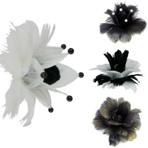 Fleurs plumes Lounge, Plumes en forme de fleur sur pique pour décorer glaces, gâteaux et cocktails