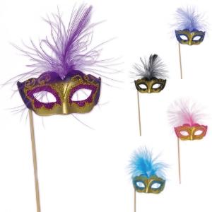 Masques à Plumes Vénitiens, Masque carnaval, décoratif pour gâteaux, glaces et cocktails