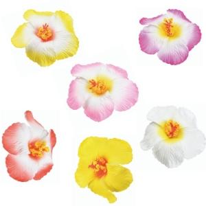 Décoration fleurs hibiscus GM sur pique pour gâteaux et cocktails