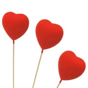 Cœurs rouges décoratifs à planter dans les glaces et gâteaux - Mondo Déco