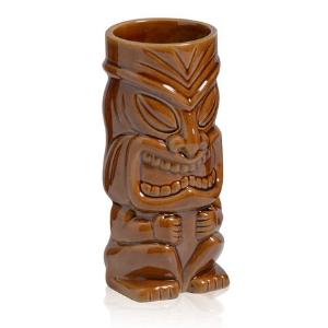 Verre à cocktail en céramique esprit Tiki Maori Marron - Mondo Déco