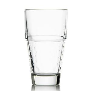 Verres Disco transparents avec des petits cercles ton sur ton sur la paroi extérieure. Verre à boire - Mondo Déco