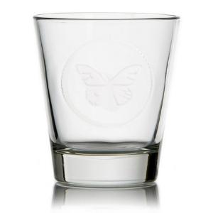 Verres Papillon - Verres simples et transparents avec un papillon centré ton sur ton - Mondo Déco
