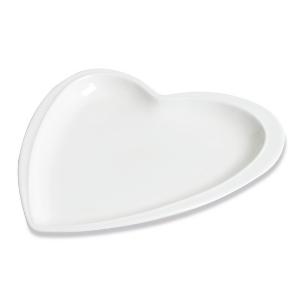 Assiette Déclaration Petit Modèle, plate en forme de cœur, blanche - Mondo Déco