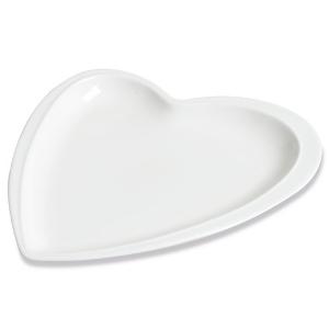 Assiette Déclaration Grand Modèle, plate en forme de cœur, blanche - Mondo Déco
