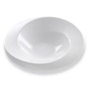 Assiette Ellipse creuse et blanche - Mondo Déco