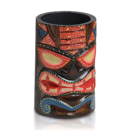 porte-verre tiki couleur - en bois, décoration cocktails - mondo déco
