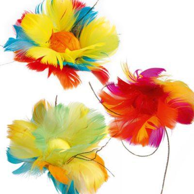 Fleurs plumes 4 couleurs - décors glaces et cocktails - Mondo déco
