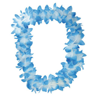 Colliers Hawaïens Blancs/bleus - décors pour les soirées à thème - mondo déco