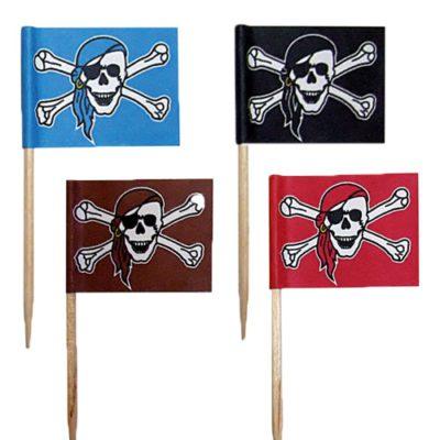 Drapeaux pirates - décors pour glaces et cocktails - pic à viande, pic à burger - mondo déco